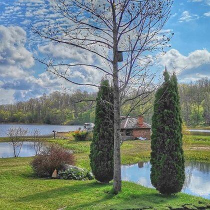 Ežero vaizdas terasoje